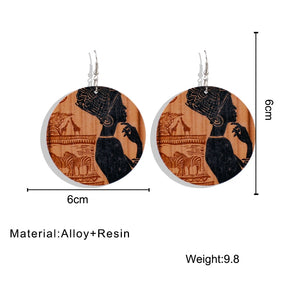 AENSOA Ethnic Vintage African Pattern Round Wooden Earrings For Women Black Series Painted English Letter Geometric Jewelry - Haute Swan LLC