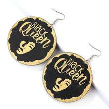 Load image into Gallery viewer, AENSOA Ethnic Vintage African Pattern Round Wooden Earrings For Women Black Series Painted English Letter Geometric Jewelry - Haute Swan LLC