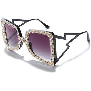 Oversized Rhinestone Sunglasses Women 2020 Steampunk Diamond Sunglasses Square Punk Eyeglasses Gradient Handmade Sunglasses Men - Haute Swan LLC