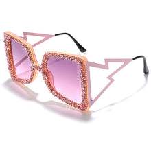 Load image into Gallery viewer, Oversized Rhinestone Sunglasses Women 2020 Steampunk Diamond Sunglasses Square Punk Eyeglasses Gradient Handmade Sunglasses Men - Haute Swan LLC