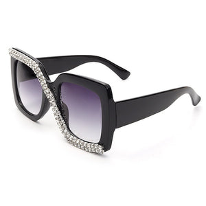 Square Rhinestone Sunglasses Women 2020 Luxury Vintage Oversized Sunglasses Unique One Piece Diamond Glasses Shades gafas de sol