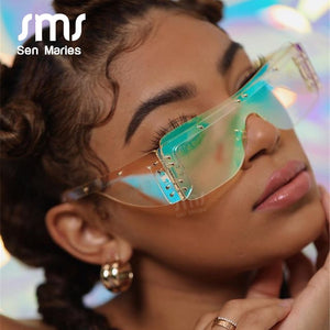 Fashion Rimless Square Goggle Sunglasses Eyewear UV400 - Sen Maries Sunglasses - Haute Swan LLC