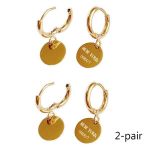 English Letter Disc Brand Earring Hoop 18k Gold Coin Exquisite Jewelry - Glitzy Swan