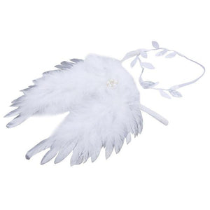 Nishine Golden Silver Angel Feather Wings With Leaves Headband Hair Head Bands Photography Props Newborn Accessories - Glitzy Swan
