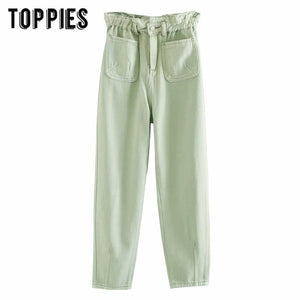 2020 white green jeans denim paperbage pants front pockets high waist jeans ankle length streetwear - Glitzy Swan