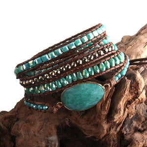 Bohemian Mixed Natural Stones Beaded Wrap Bracelet - Haute Swan LLC