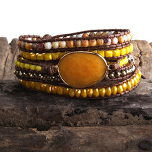 Load image into Gallery viewer, Bohemian Mixed Natural Stones Beaded Wrap Bracelet - Haute Swan LLC