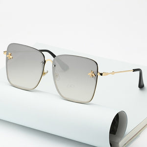 Oversize Rimless Gradient Square Bumble Bee Sunglasses UV400 - ZXWLYXGX - Haute Swan LLC
