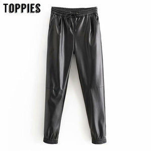Autumn Winter Faux Leather Jogger Pants Elastic Waist Pencil Pants High Waist Trousers Women Streetwear - Glitzy Swan