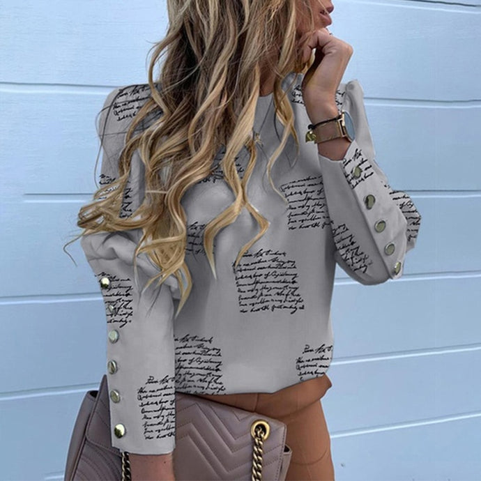 Button Long Sleeve Round Neck Puff Long Sleeve Blouse Top
