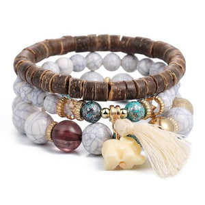 Beautiful Bohemian Stone Bracelet With Beads and Charms - Glitzy Swan
