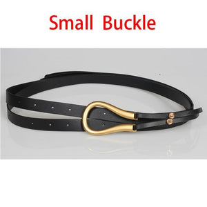 Fashion Faux Leather Belts For Women Big Alloy Buckle Thin Double Layer Shirt Knotted Stylish Punk Waist Belt Long Strap 429 - Glitzy Swan