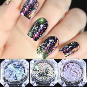 Holographic Chameleon Laser Multicolor Sequins  Christmas Nail Decor Manicure Nail Art Glitter Flakes UV Gel Nail Art Tool - Haute Swan LLC