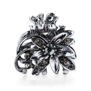 Vintage Flower Hair Claws for Women Female Elegant Crystal Hairpin Crab Rhinestone Metal Hair Clips Hair Jewelry Accessories - Glitzy Swan