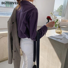 Load image into Gallery viewer, Vintage Style Turn-down Collar Women Blouse Thick Blouse Tops Work Blouse Shirt - Glitzy Swan