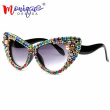 Load image into Gallery viewer, Oversized Colorful Rhinestone Cat Eyes Sunglasses - Monique Orenda
