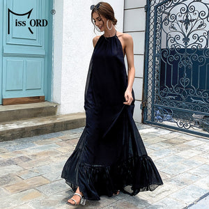 Black Sexy Backless Boho Beach Halter Sleeveless Long Summer Dress Floor-length Maxi Party Dress