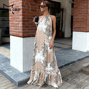 Damask Leopard Sexy Backless Boho Beach Halter Sleeveless Leopard Long Summer Floor-length Maxi Party Dress M0244-1