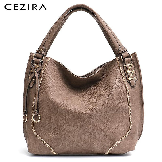 Luxury Soft Vegan Leather Large Tote Hobo Shoulder Bags - Cezira - Glitzy Swan