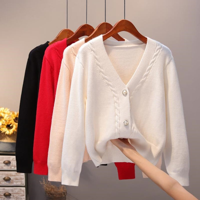 Slim Ladies Knitted Casual V-neck Cardigan Sweaters