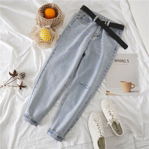 Light Blue Ripped Jeans Loose Fit Baggy Casual Pants Belt Also Available