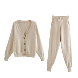 Stunning Solids Two Piece Cardigan Sweater Drawstring Track Suits - Glitzy Swan