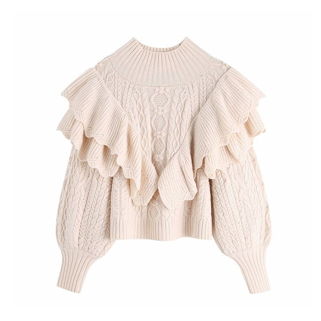Fashion Ruffled Cropped Knitted Sweater Vintage High Neck Lantern Sleeve Female Pullovers Chic Tops