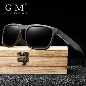 GM New Arrivals Black Wooden Polarized Sunglasses for Men Bamboo Sunglasses Red UV400 Lenses Fashion Driving Shades S5523 - Glitzy Swan