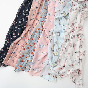 Ditsy Delicate Floral Bubble Chiffon Print Scarves - Many Colors & Prints - Glitzy Swan