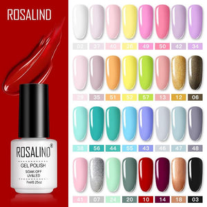 ROSALIND Gel Polish Set Manicure for Nails Semi Permanent Vernis top coat UV LED Gel Varnish Soak Off Nail Art Gel Nail Polish - Glitzy Swan