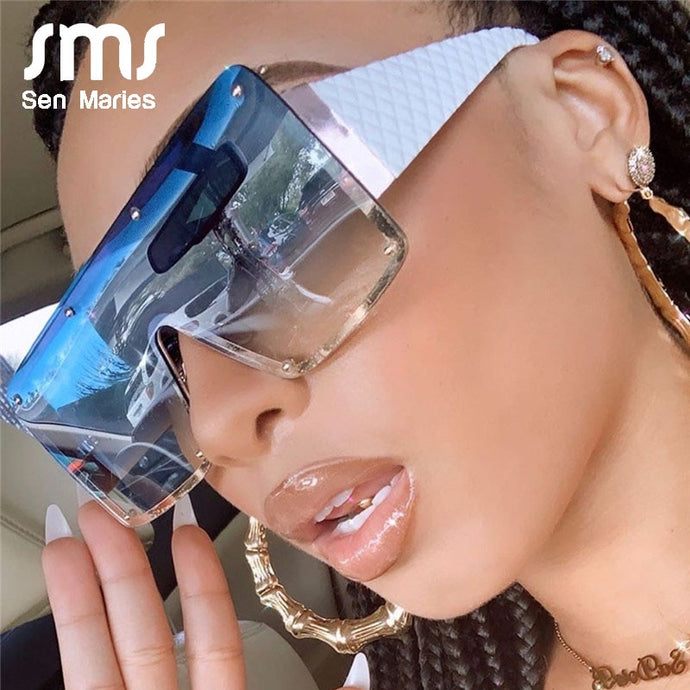 Oversized Retro Square Metal Sunglasses UV400 - Sen Maries Sunglasses - Haute Swan LLC