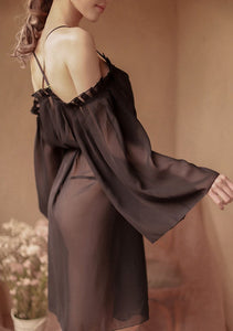 Fashion Night Gown Spaghetti Strap Off Shoulder Ruffle Sleeve Sheer Night Dress - Glitzy Swan