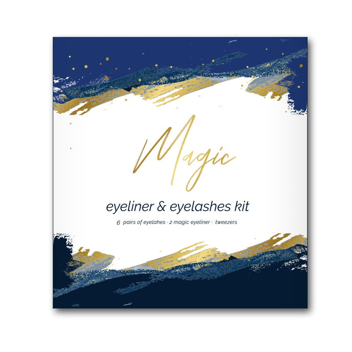 Self-adhesive Magic Eyelashes Set No Glue No Magnet Eyelashes Waterproof Magic Eyeliner Handmade 3D Lash Makeup Kit