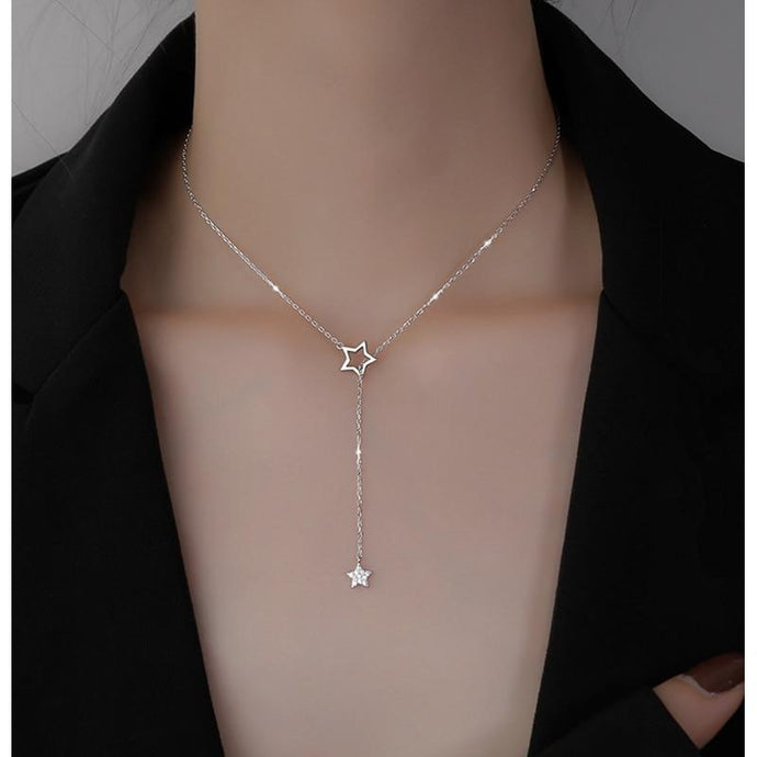 925 Sterling Silver Cute Shiny Star Choker Drop Charm Necklace in Silver or Gold - Glitzy Swan