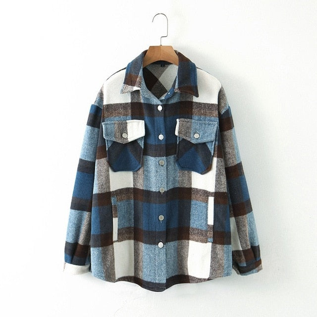 Vintage Plaid Long Coat Jacket Pocket Casual Warm Overcoat Fashion Outwear