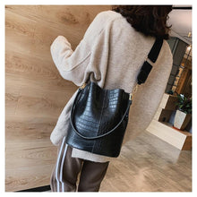 Load image into Gallery viewer, Vegan Leather Crocodile Crossbody Bag Bucket Bag Handbag - Ansloth - HPS405 - Glitzy Swan