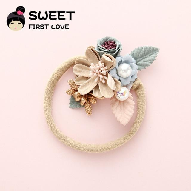 Children's Flower Nylon Headband Baby Hair Bands Pearl Headbands Wholesale Princess Elastic Hairband For Girls Hair Accessories - Glitzy Swan