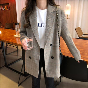 Fall Plaid Women Blazer Double Breasted Jacket With Notched Collar and Cozy Pockets - Glitzy Swan