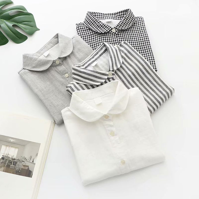 Double Layer Striped Black White or Print Polyester Blouse