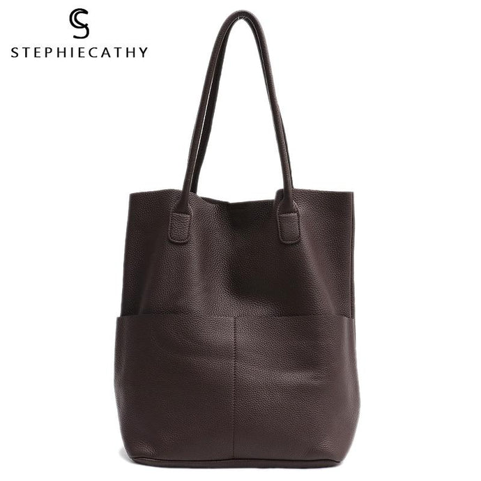 Soft Genuine Leather High Quality Shoulder Bucket Bag - Stephie Cathy - Glitzy Swan