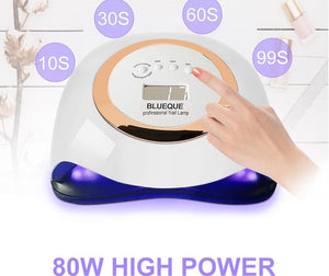 Nail Lamp 80W Newest Lampara UV Led Nails Gel Dryer Professional UV Lamp With Smart Sensor and Timer Manicure Ongles Tools - Glitzy Swan