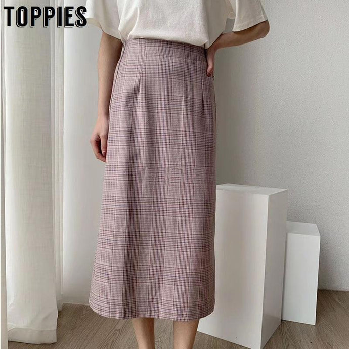 Vintage Plaid Office Midi Skirt in Light Purple, Light Green and Light Blue - Glitzy Swan