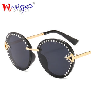 Vintage Oval Sunglasses Women Luxury Rhinestone Metal Fashion Frame Retro Sun GlassesGradient Colorful Lens Brand Eyewear UV400 - Haute Swan LLC
