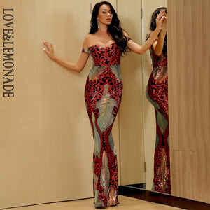 LOVE&LEMONADE Sexy Tube Top Colorful Geometric Sequins Elastic Bodycon Off-Shoulder Short-Sleeved Maxi Dress LM81343