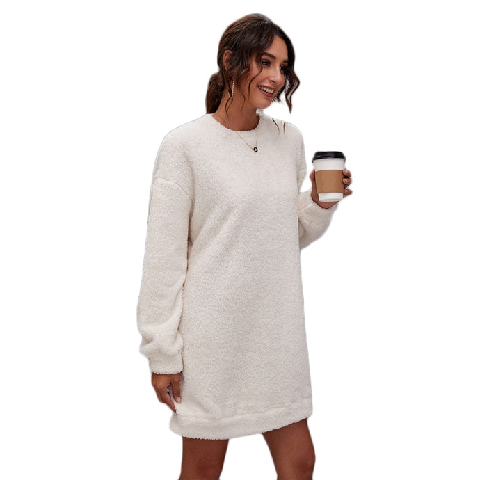 Teddy Soft Shearling Round Neck Long Sleeve Oversized Casual Mini Dress