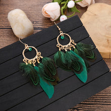 Load image into Gallery viewer, 6 Color Boho Red Feather Drop Earrings Fashion Jewelry Statement Exotic Dangle Eardrop Earring Gold Metal Tassel F - Haute Swan LLC