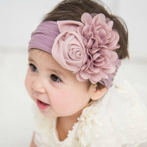 Nishine Soft Stretch Satin Rose Flower Baby Headband Newborn Knot Wide Nylon Headwraps Turban Girls Headwear Kids Photo Props - Glitzy Swan