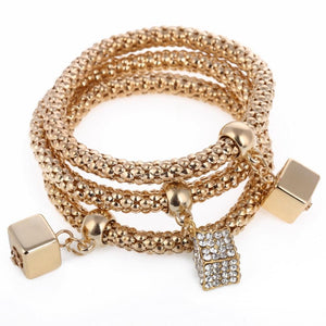 3Pcs/Set Crystal Elastic Gold Bracelet With Dangle Charm - Glitzy Swan