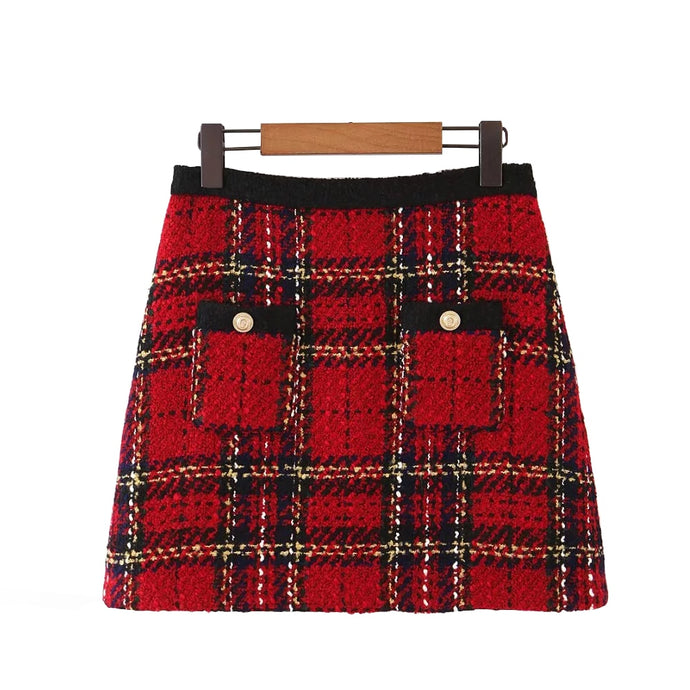 Red Vintage Women Tweed  Plaid Patchwork Chic Mini Skirts