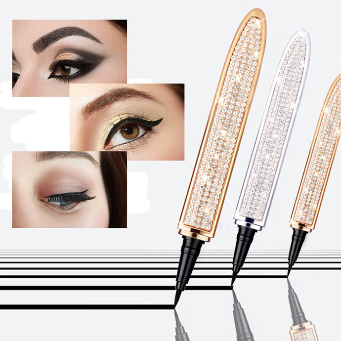 Quick-drying Black Eyeliner Pen Diamond Magic Eyelash Self Adhesive Waterproof  Eye Liner Pen